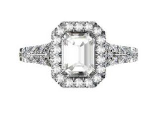 Emerald Cut Diamond Halo Engagement Ring with Filigree Detailing 2 2
