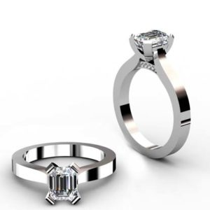 Emerald Cut Diamond Solitaire Engagement Ring with Flat Band and Diamond Detailing Underneath 1 2