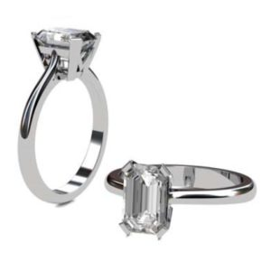 Emerald Cut Diamond Solitaire Engagement Ring with V Shape Basket 1 1 2