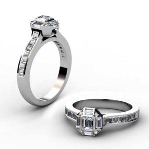 Emerald Cut Diamond Squared Halo Engagement Ring 1 2