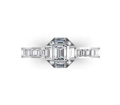 Emerald Cut Diamond Squared Halo Engagement Ring 2 2