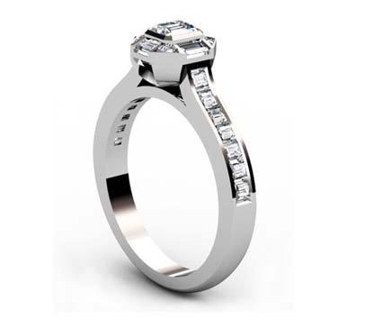 Emerald Cut Diamond Squared Halo Engagement Ring 4 2