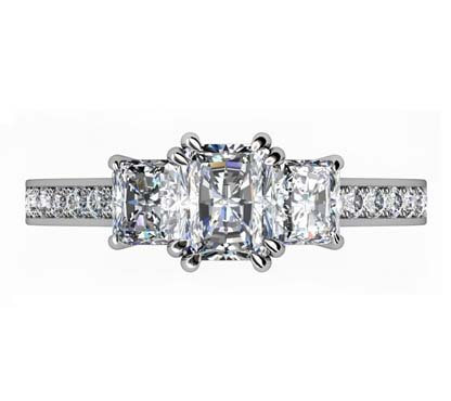 Emerald Cut Double Claw Diamond Three Stone 2 2