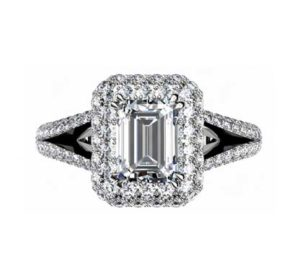 Emerald Cut Double Halo Diamond Engagement Ring 2 2