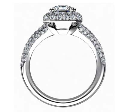 Emerald Cut Double Halo Diamond Engagement Ring 3 2