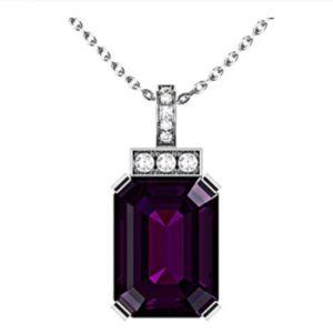 Emerald Cut Purple Sapphire and Diamond Pendant 1 1