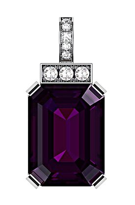 Emerald Cut Purple Sapphire and Diamond Pendant 2 2