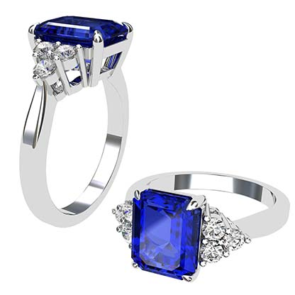 Emerald Cut Sapphire and Diamond Ring 1 1
