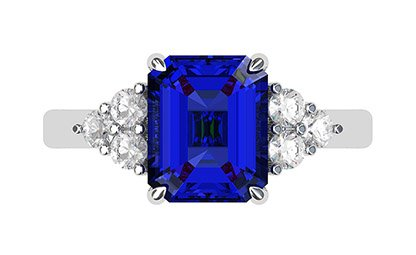 Emerald Cut Sapphire and Diamond Ring 2 1