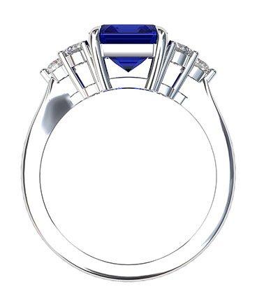 Emerald Cut Sapphire and Diamond Ring 3 1