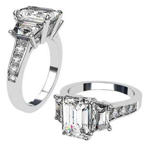 Emerald Cut and Trapeziod Diamond Engagement Ring 1 2