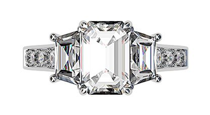 Emerald Cut and Trapeziod Diamond Engagement Ring 2 2