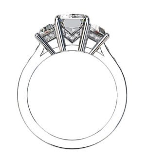 Emerald Cut and Trapeziod Diamond Engagement Ring 3 2