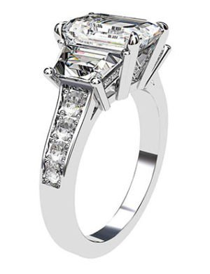 Emerald Cut and Trapeziod Diamond Engagement Ring 4 2