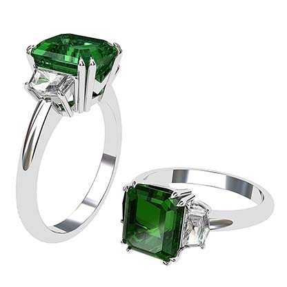 Emerald and Cadillac Diamond Ring 1 2