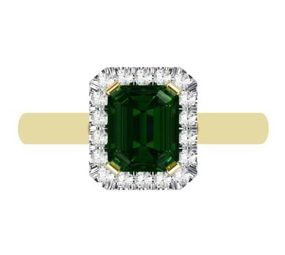 Emerald and Diamond Halo Ring with a Yellow Gold Band 2 2