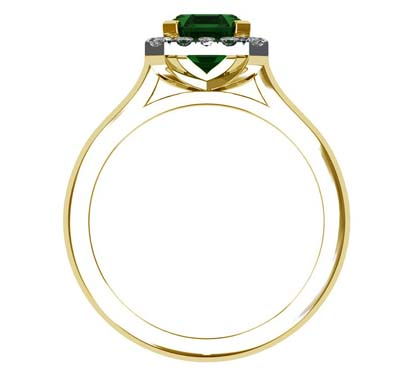 Emerald and Diamond Halo Ring with a Yellow Gold Band 3 2