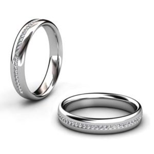 Fine Diamond Bead Set Wedding Ring in Platinum 1 2