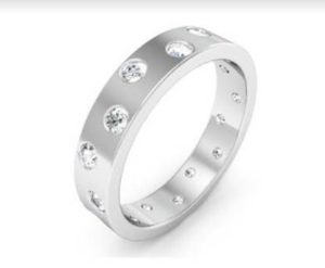 Flat flush set diamond ring 4