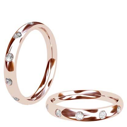 Flush set rose gold wedding ring 1 2