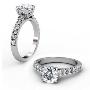 Four Claw Brilliant Cut Diamond Engagement Ring 1 2
