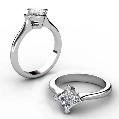 Four Claw Princess Cut Diamond Solitaire Engagement Ring 1 2