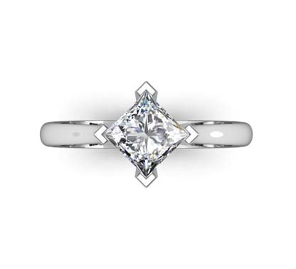 Four Claw Princess Cut Diamond Solitaire Engagement Ring 2 2
