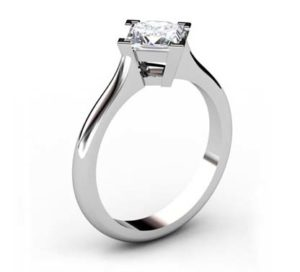 Four Claw Princess Cut Diamond Solitaire Engagement Ring 4 2