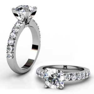 Four Claw Round Brilliant Cut Diamond Engagement Ring 1 2
