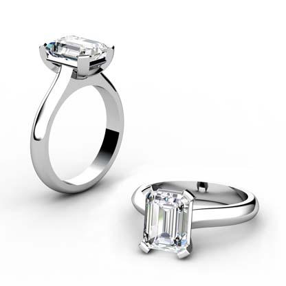 Four Claw Three Carat Emerald Cut Solitaire Diamond Ring 1 2