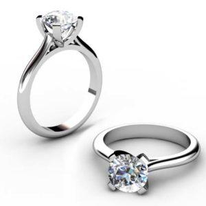Four Prong Brilliant Cut Diamond Solitaire Diamond Ring 1 2