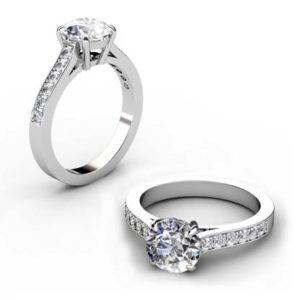 Four Prong Round Brilliant Cut Diamond Engagement Ring 1 2