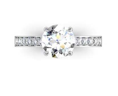 Four Prong Round Brilliant Cut Diamond Engagement Ring 2 2