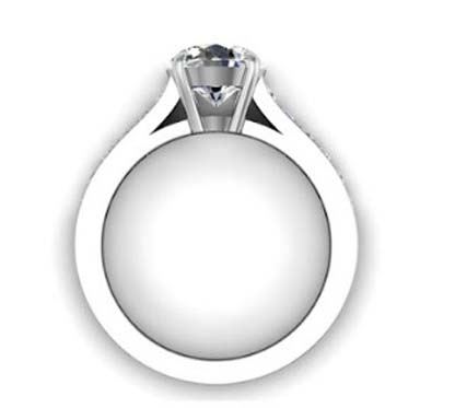 Four Prong Round Brilliant Cut Diamond Engagement Ring 3 2