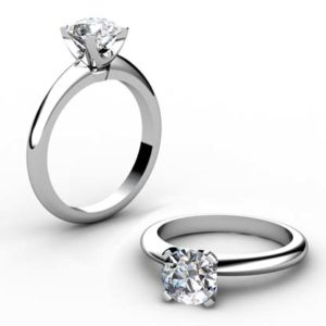 Four Prong Round Brilliant Cut Diamond Solitaire Engagement Ring 1 2