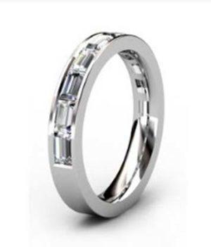 Half Eternity Baguette cut diamond channel set wedding ring 4