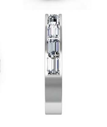 Half Eternity Baguette cut diamond channel set wedding ring 5