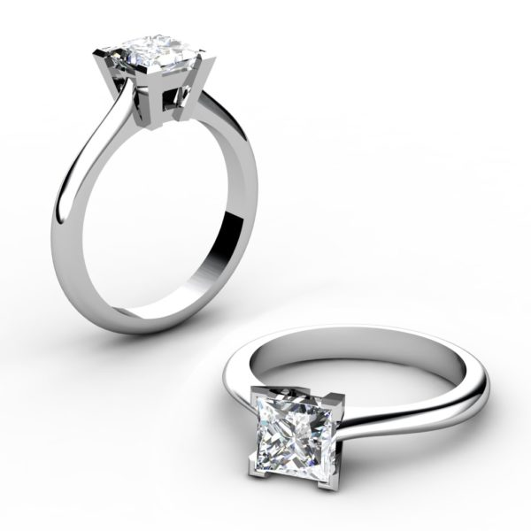 Handmade Solitaire Princess Cut Engagement Ring 1 2