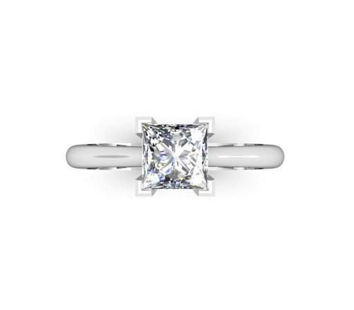 Handmade Solitaire Princess Cut Engagement Ring 2 2