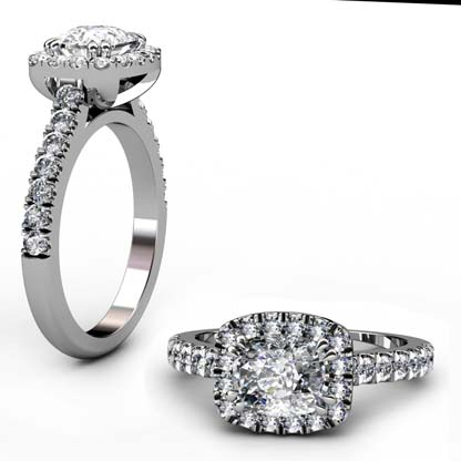 Horizontal Cushion Cut Diamond Halo Engagement Ring 1 2