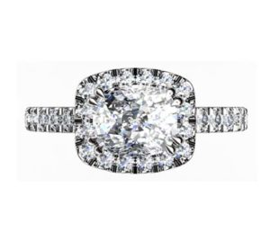Horizontal Cushion Cut Diamond Halo Engagement Ring 2 2