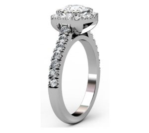 Horizontal Cushion Cut Diamond Halo Engagement Ring 4 2
