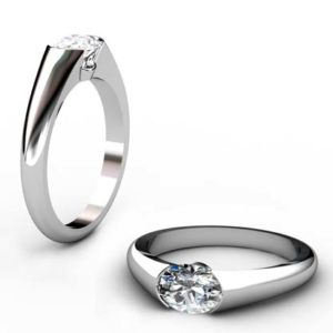 Horizontal Oval Diamond Bezel Set Engagement Ring 1 1 2