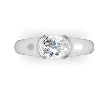 Horizontal Oval Diamond Bezel Set Engagement Ring 2 3