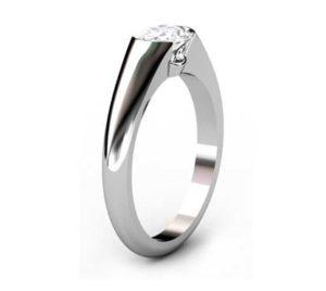 Horizontal Oval Diamond Bezel Set Engagement Ring 4 1 2