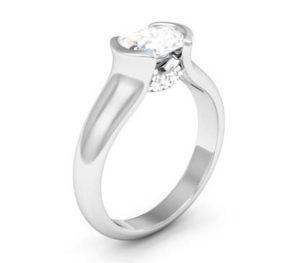 Horizontal Oval Diamond Bezel Set Engagement Ring 4 3