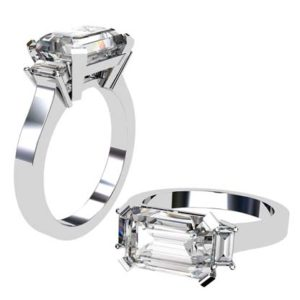 Horizontal Radiant Cut Three Stone Diamond Engagement Ring with Flat Band 1 2