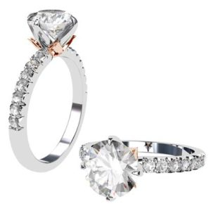Lotus Four Claw Diamond Solitaire Engagement Ring 1 2