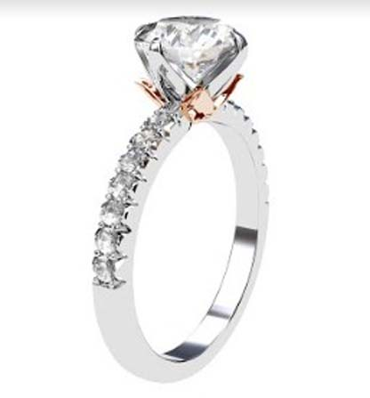 Lotus Four Claw Diamond Solitaire Engagement Ring 4 2