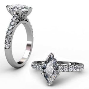 Marquise Shaped Diamond Engagement Ring with Filigree Detailing 1 2